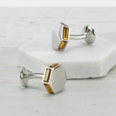 Faceted Coloured Crystal Cufflinks