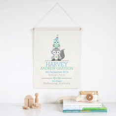 Personalised Boys' Animal Stack birth print wall banner