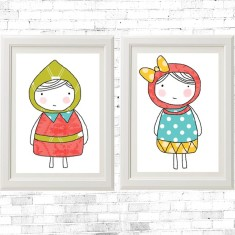 Sketch little girls prints (set of 2)