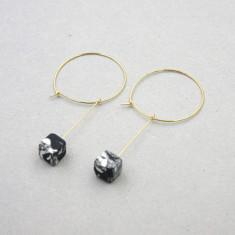 Marble Pattern Stud Hoop Earrings