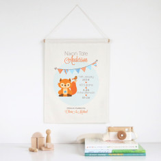 Fox personalised birth print wall banner