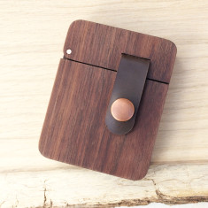 Solid walnut wood and copper hipster wallet