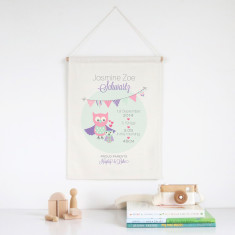 Owls personalised birth detail wall banner