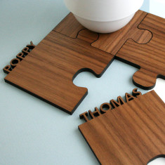 Set Of Four Personalised Cut Out Walnut Jigsaw Coasters
