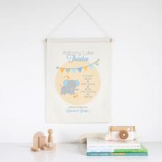 Elephant personalised birth print wall banner