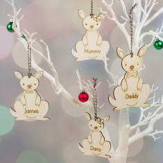 Wooden Kangaroo Family Personalised Christmas Decorations