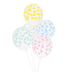 Multicolour pastel dots party balloons (2 packs)
