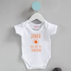 Personalised You Are My Sunshine Babygrow
