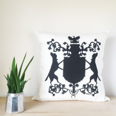Labrador Silhouette Coat of Arms Linen Cushion
