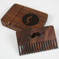 Personalised Solid Walnut & Copper Beard Comb & Box