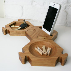 Solid oak interlocking hexagon desk tidy