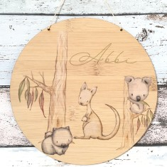 Personalised colour Australian native animals bamboo wall hanging
