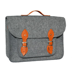 Grey felt laptop bag with orange straps
