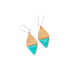 Straight leaf bamboo and resin dangly earrings - various colours