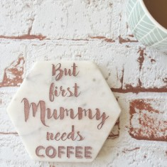 But First Coffee - Personalised marble coasters (Single)