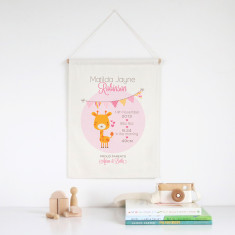 Giraffe personalised birth print wall banner