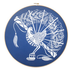 Screen printed lyrebird framed in embroidery hoop in cobalt