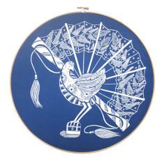 Screen printed lyrebird framed in embroidery hoop in cobalt