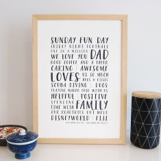 Our dad personalised modern bus roll print (various colours)