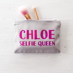 Personalised selfie queen make up bag
