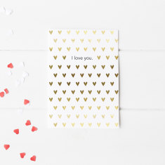 I Love You black & gold foil card