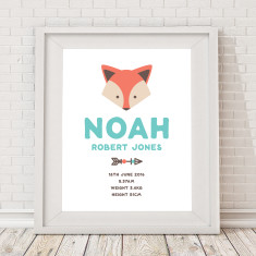 Personalised Tribal Fox & Feather name & birth art print