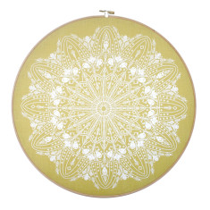 Handmade embroidery hoop doily screen print in citrus