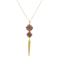 Brass spike & square beads necklace