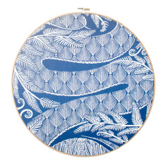 Screen printed snakeskin framed in embroidery hoop in cobalt