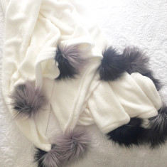 Cosy Throw with Faux Fur Pom Poms