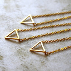 Gold plated triangle charm necklace