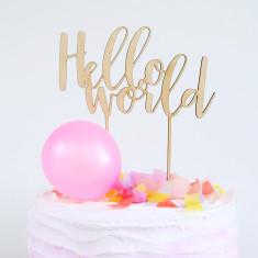 Hello World Baby Shower wood cake topper