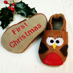 Personalised Robin baby shoes