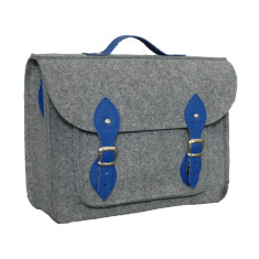 Grey felt laptop bag with blue leather