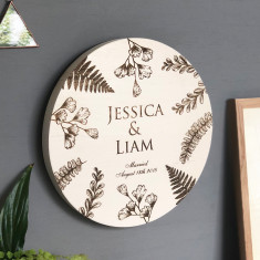 Oak Engraved Wedding Wall Plaque
