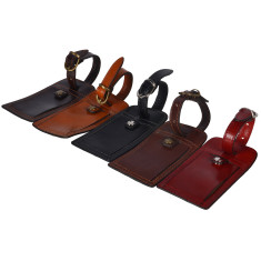 Luggage tags in leather (red, black, tan, brown & chocolate)