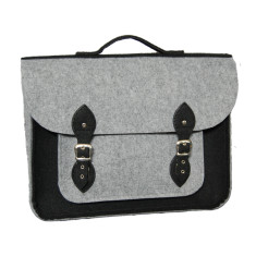 Grey felt laptop bag with black felt straps