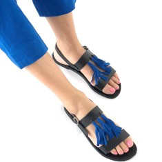 Sandalaki Leather Sandals In Black With Blue Tassels