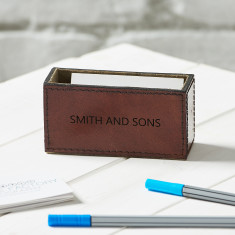 Personalised Tan Leather Business Card Holder