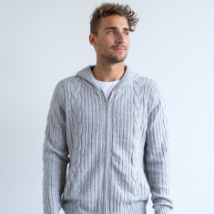 Harry Zip Front Luxe Hoodie In Grey