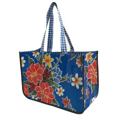BenElke oilcoth tote bag in Hibiscus Blue