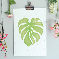 Botanical Cheeseplant Fine Art Print - Nursery Wall Art for Kids