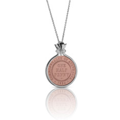 Australian half penny coin pendant in rose gold & silver