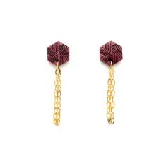 Hexagon & gold chain post earring
