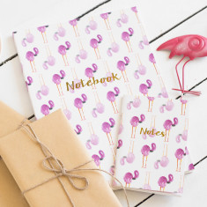 Flamingo notebook with gold foil