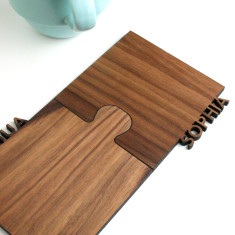 Set Of Two Personalised Cut Out Walnut Jigsaw Coasters