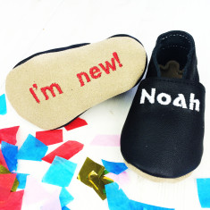 Personalised unisex 'I'm new' baby shoes