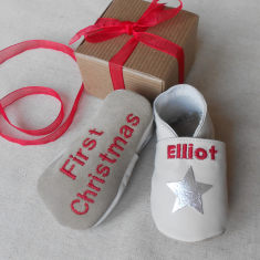 Personalised Christmas star baby shoes
