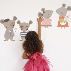 Mouse family fabric wall stickers