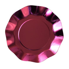 Metallic pink ruffled plate (2 packs)